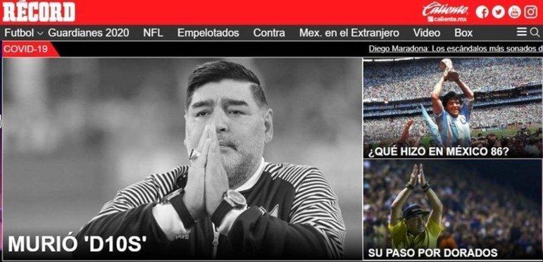 Confira a repercussão da morte de Diego Armando Maradona no periódico: 'Record'.
