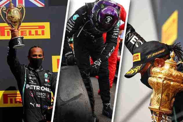 Confira as fotos que marcaram o GP da Inglaterra de 2020, vencido de forma dramática por Lewis Hamilton: