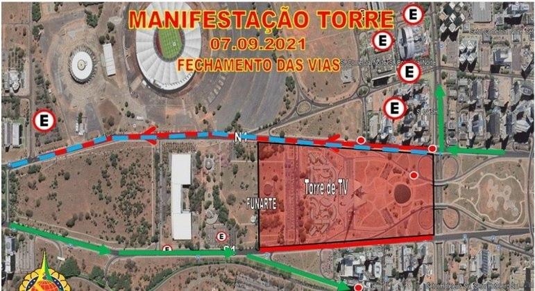 Esquema com fechamento das vias na área central de Brasília