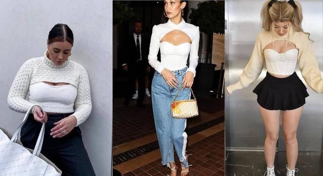 Conheça o suéter recortado, tendência já usada por Bella Hadid