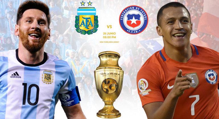 Argentina/Messi e Chile/Sanchez, final da Copa América de 2016, placar de 2 X 4 nos penais