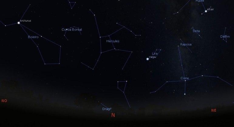 Constelação de Lira é situada no horizonte norte
