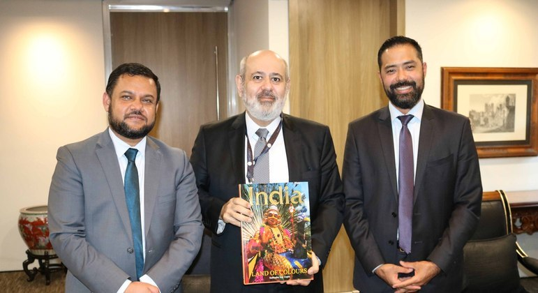 Cônsul Amit Kumar Mishra, Luiz Cláudio Costa e Christiano Branco