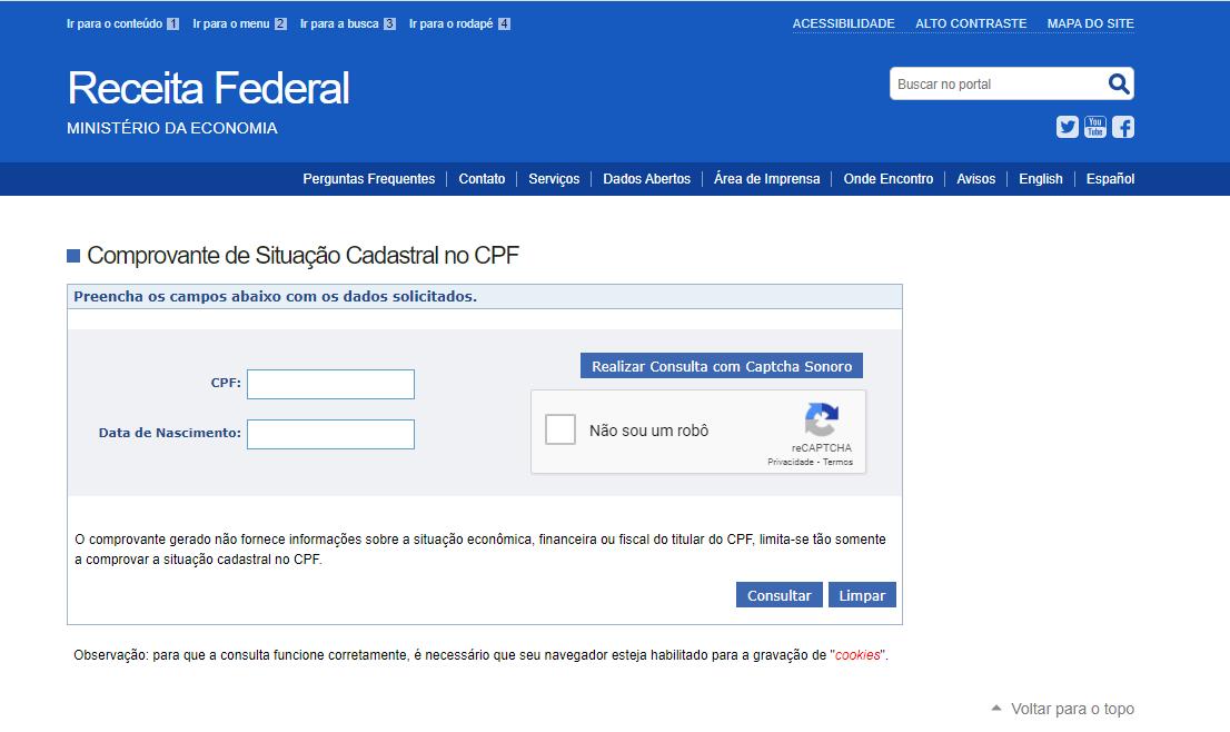 Para consultar a situação do CPF é preciso informar o número do documento e data de nascimento