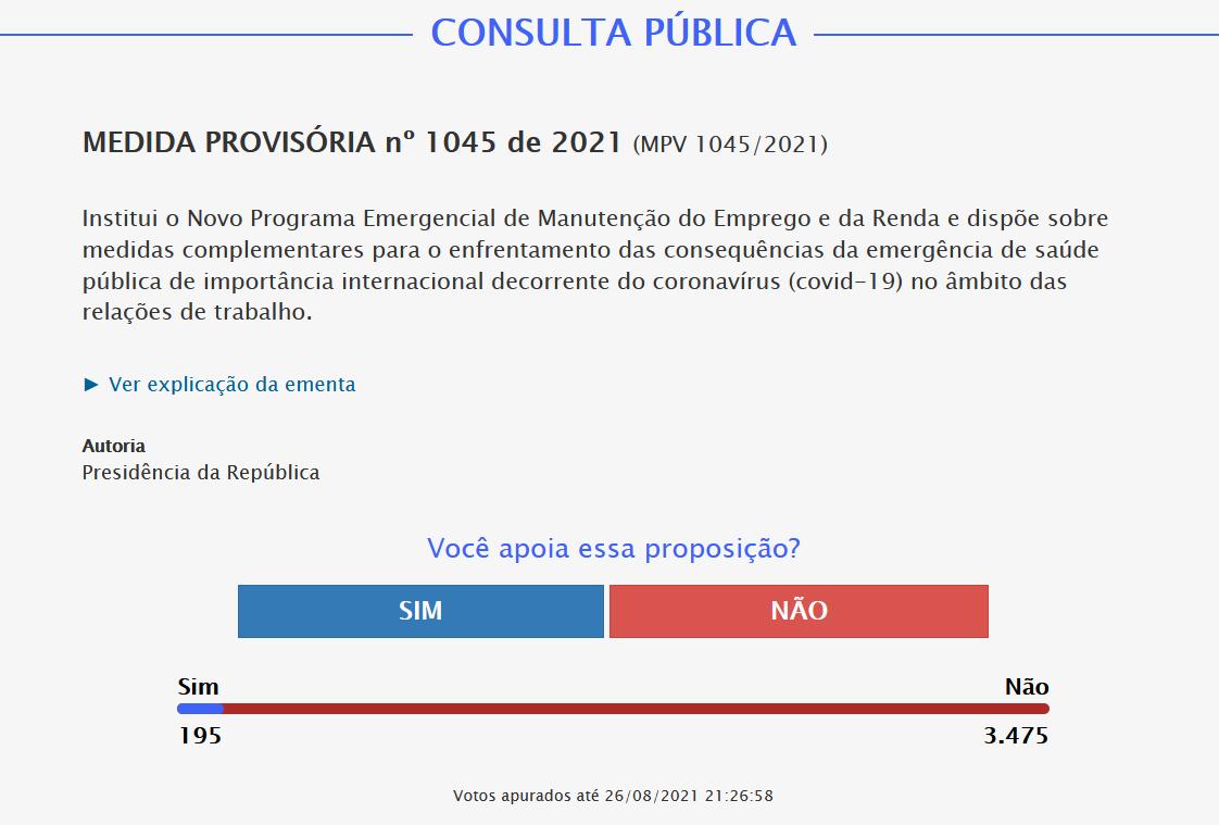 Resultado da consulta pública da MP 1.045/21