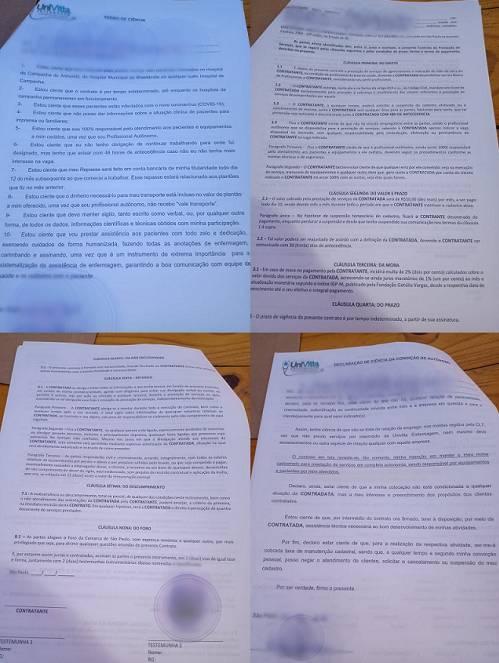 Por segurança, denunciante fotografou contratos assinados com a OSS Univitta. Imagens foram borradas para proteger sua identidade