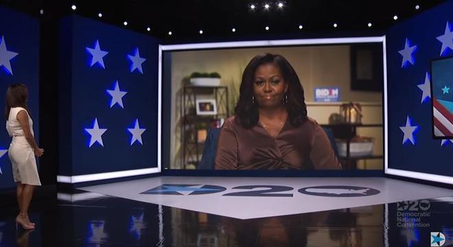 Michelle Obama foi destaque em convenção Democrata, realizada por videoconferência
