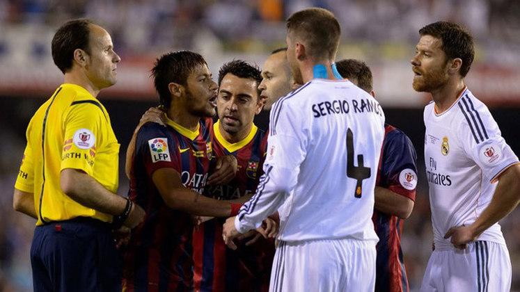COPA DO REI 2013-14 - Foi o jogo decidido por Bale, numa arrancada absurda em alta velocidade. Neymar passou em branco nessa final entre Barcelona e Real Madrid, mas acertou a trave no fim. Ficou nisso.