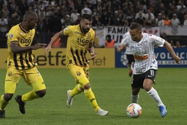 Corinthians 2 x 1 Guaraní (PAR) (Libertadores): Cássio; Fagner, Pedro Henrique, Gil e Sidcley (Lucas Piton); Camacho (Janderson), Cantillo, Pedrinho, Luan e Vagner Love (Gustavo); Mauro Boselli
