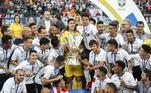Corinthians é o terceiro colocado. Com 11 títulos, o Timão conta com 7 Campeonatos Brasileiros, 3 Copas do Brasil e 1 Supercopa do Brasil