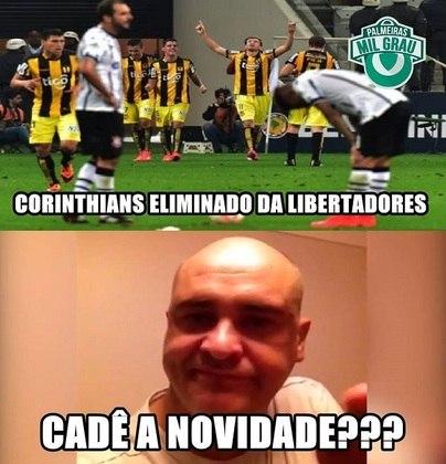 Corinthians x Guarani-PAR - Oitavas de final da Copa Libertadores de 2015 (13/05/2015). Depois de derrota no Paraguai por 2 a 0, o Corinthians não conseguiu reverter o resultado na Arena e ficou apenas no empate por 2 a 2. Segunda eliminação alvinegra na Arena em menos de um mês