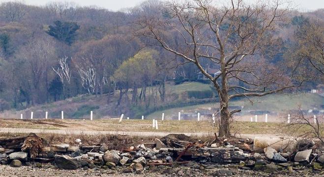Marcadores brancos indicam as sepulturas no cemitério de Hart Island