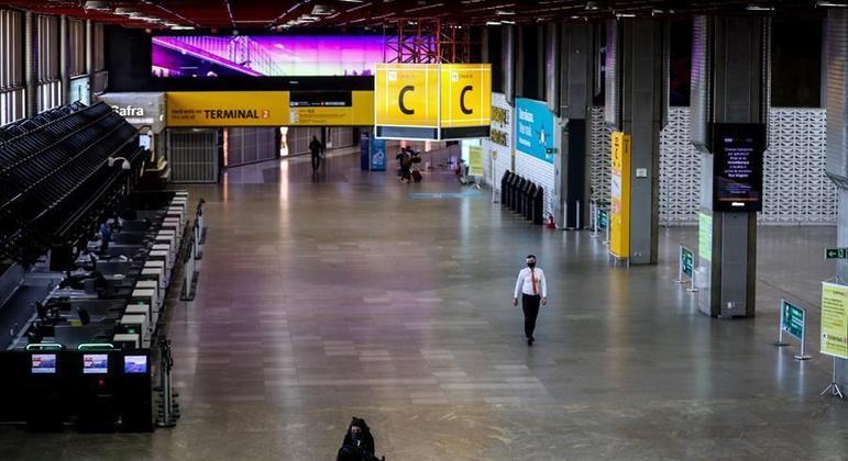 Aeroporto de Cumbica vazio em maio do ano passado em razão de restrições