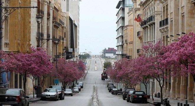 Rua de Beirute durante isolamento social