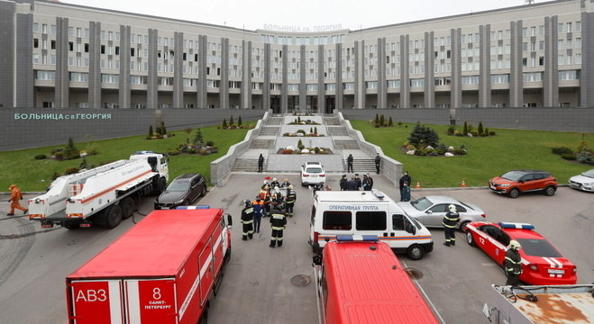 UTI do Hospital Saint George, em São Petersburgo, pegou fogo nesta terça (12)