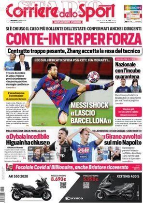 Corriere dello Sport (Itália) – Desafio PSG-City, mas Moratti... (da Internazionale). Messi choca com 'Saio do Barcelona'.