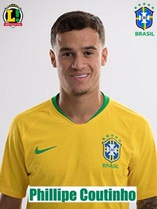 Coutinho - 7,5: Fez o quinto gol do Brasil e foi fundamental no meio campo, presente em quase todas as jogadas e mostrando muita evolução dentro do jogo. Fez parceria com Neymar boa parte do jogo, infernizando a zaga boliviana.