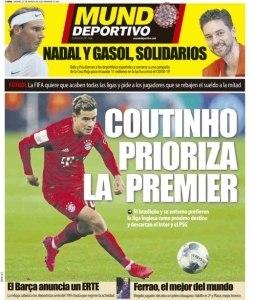 Coutinho capa do Mundo Deportivo