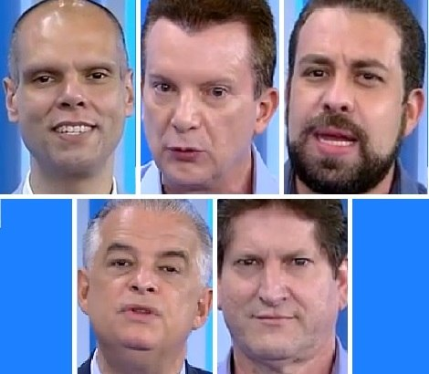 Covas (PSDB), Russomanno (Republicanos), Boulos (PSOL), França (PSB) e Tatto (PT)