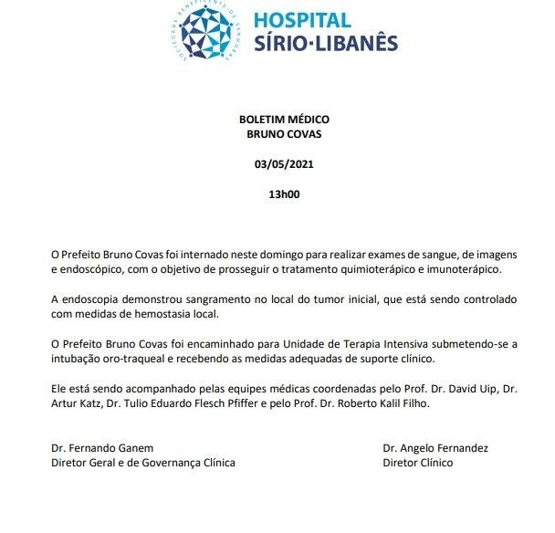 Boletim médico do prefeito de São Paulo, Bruno Covas