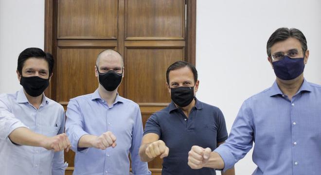 Ricardo Nunes, Bruno Covas, João Doria e Rodrigo Garcia em convenção do PSDB