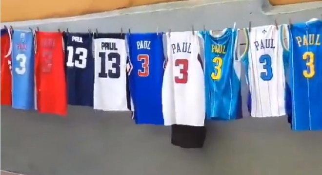 Sidney Gabriel postou vídeo com simplesmente 20 camisas de Chris Paul