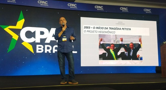 Ministro-chefe da Casa Civil, Onyx Lorenzonim, durante o CPAC Brasil