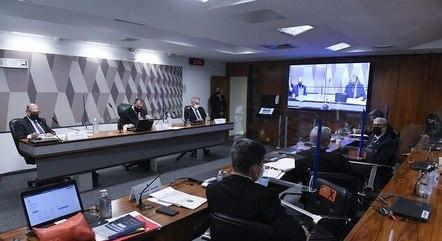 Na imagem, oitiva da CPI da Covid no Senado