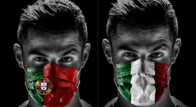No Twitter, com as máscaras de Portugal e da Itália