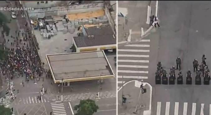 Helicóptero da Record TV flagra tumulto na Cracolândia, no centro de SP