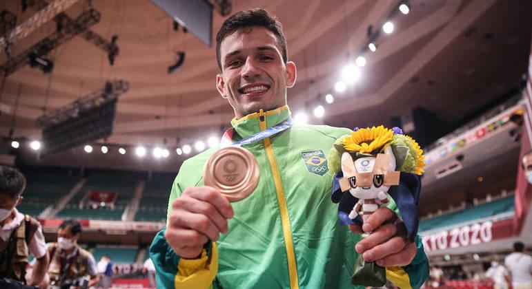 Daniel Cragnin, por enquanto a única medalha do Judô, um bronze