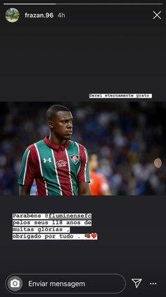 Cria do Fluminense, o zagueiro Frazan parabenizou o clube.