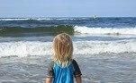 criança, praia, sol, verão, mar