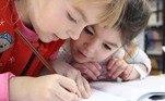 crianças, escola, escrever, ler, menino, menina