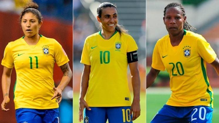 Cristiane, Marta e Formiga conquistaram duas medalhas: prata em 2004 e 2008. As outras brasileiras da lista são: Andréia, Daniela, Renata, Maycon, Pretinha, Rosana e Tânia Maranhão.
