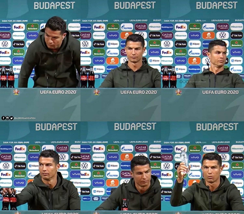 Cristiano Ronaldo trocou as garrafas de Coca por uma de água
