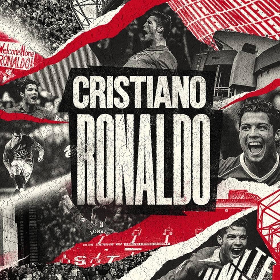 Anúncio oficial do Manchester United. O foco ficou no Cristiano Ronaldo de 12 anos atrás