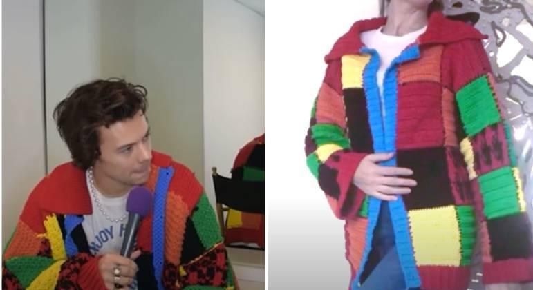 Depois que o cantor Harry Styles apareceu em uma apresentação usando um cardigã de crochê com várias cores, a peça se tornou instantaneamente um item de desejo e pipocou por toda parte nas redes sociais. O casaco, do estilista JW Anderson, obteve mais de 60 milhões de visualizações na hashtag #HarryStylesCardigan no TikTok