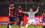 No Campeonato Italiano, a Juventus visitou o lanterna Crotone e desperdiçou dois preciosos pontos, com empate por 1 a 1. Diagnosticado com a covid-19, o atacante Cristiano Ronaldo foi desfalque.