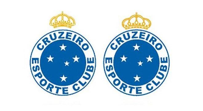 Cruzeiro - O escudo do Cruzeiro sofreu alterações. À esquerda, O escudo usado entre 1961 e 1996. Já na direita, em 2015, o clube mudou novamente as fontes das letras do escudo e a tonalidade do azul, saindo também a referência a Belo Horizonte