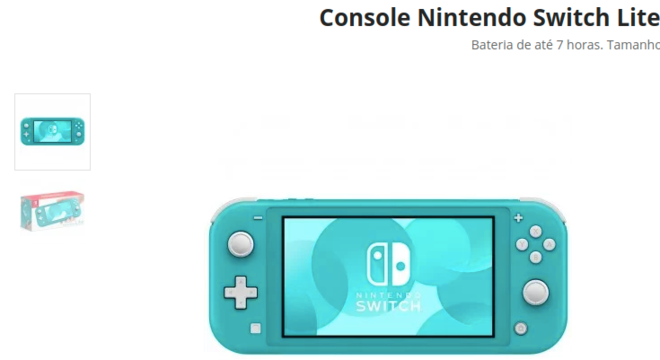 Cyber Monday 2020 - Nintendo Switch Lite 32GB com mais de 20% de desconto