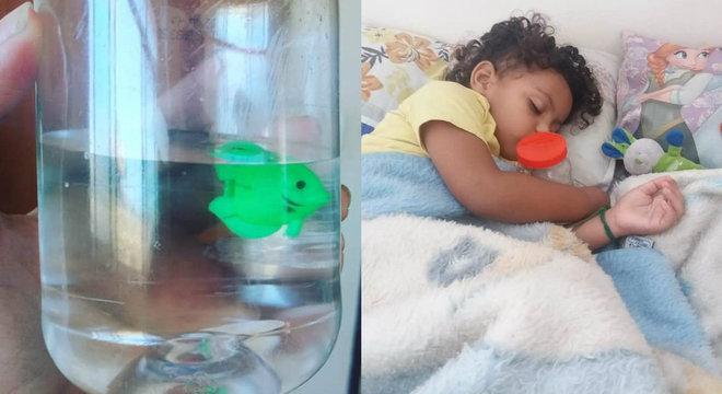 Mãe dá filho de brinquedo para o filho e usa pote de maionese como aquário