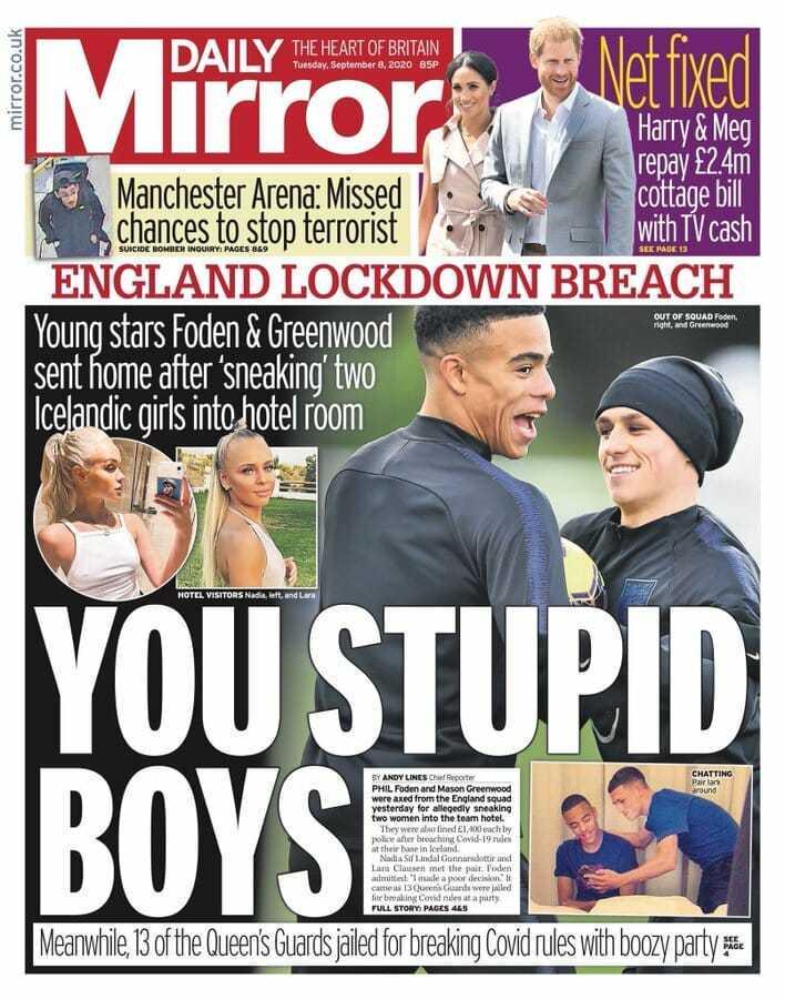 """Daily Mirror não poupa palavras aos jogadores da Seleção Inglesa. """"Estúpidos"""""""