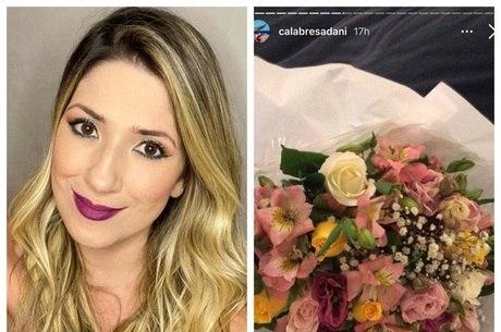 Dani Calabresa recebe flores após denunciar Melhem