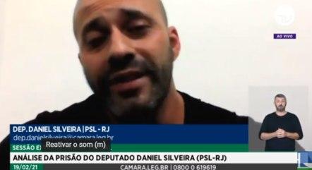 Daniel Silveira durante depoimento por videoconferência