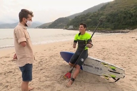 Em sua reportagem de estreia, Daniel conta a história de Jonas Leiteri, que perdeu os braços em um acidente, e se apaixonou por esporte