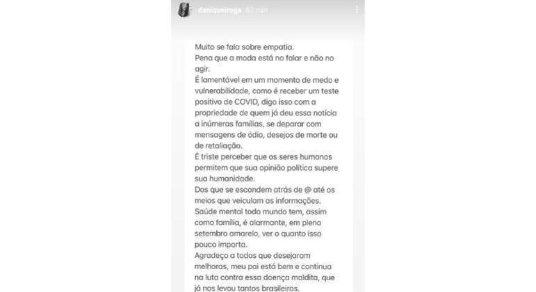 Daniella Queiroga fez o desabafo pelas redes sociais