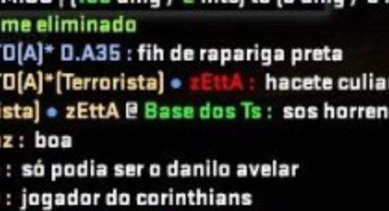 A ofensa feita por Danilo Avelar no jogo on line. Adversários sabiam que era o jogador do Corinthians