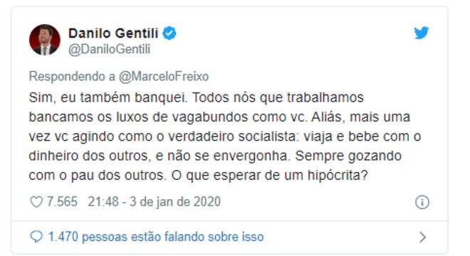 Danilo Gentili e Marcelo Freixo trocam farpas no Twitter