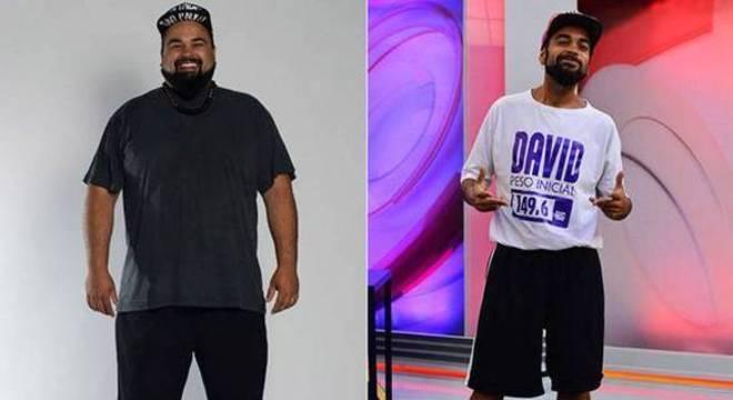 David antes de entrar no Além do Peso/após o programa, 70kg mais magro
